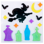 Tombstones & Witches Gel Clings 20cm x 20cm - 12 PC