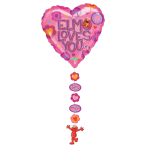 """Elmo Loves You Drop-a-Line Foil Balloons - 24""""/61cm x 54""""/137cm - P60 - 5 PC"""