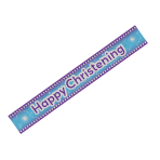 Happy Christening Blue Holographic Banner 2.7m - 12 PKG