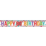 Multi Colour Happy 80th Birthday Holographic Foil Banners 2.7m - 12 PKG
