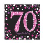 Pink Sparkling Celebration 70th Luncheon Napkins 33cm - 12 PKG/16