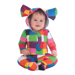 Elmer Hooded Cotton Romper - Age 6-9 Months - 1 PC