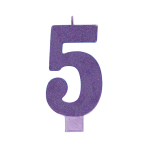 Giant Size Numeral Purple Glitter Candles 13.3cm #5 - 12 PC