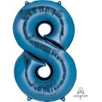 """Number 8 Blue SuperShape Foil Balloons 22""""/55cm w x 35""""/88cm h P50 - 5 PC"""