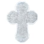 White Large Tinsel Cross - 6 PKG