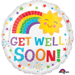 Get Well Soon Happy Sun Standard Foil Balloons S40 - 5 PC