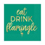 Eat Drink Flamingle Beverage Napkins 25cm - 12 PKG/16