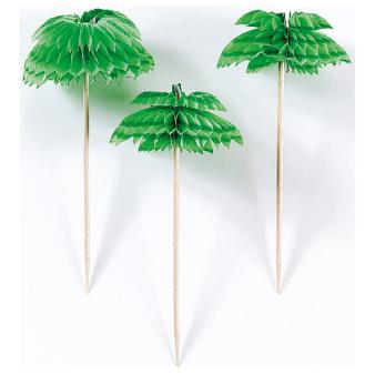 Palm Tree Honeycomb Picks 7.6cm - 12 PKG/12