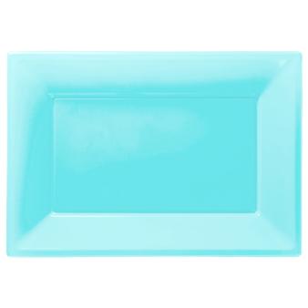 Caribbean Blue Plastic Serving Platters - 6 PKG/3