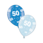 "50th Birthday Rich Blue & Icy Blue Printed Latex Balloons 11""/27.5cm - 25 PC"
