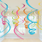 Multi-Colours Plastic Swirls Decorations 55cm - 6 PKG/12