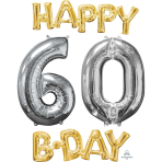 """""""Happy 60 B-Day"""" Phrase & Number Bunch Foil Balloons P75 - 3 PC"""