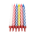 Multi Spiral Candles with Holders - 12 PKG/12