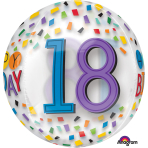 "Rainbow Happy 18th Birthday Clear Orbz Foil Balloons 15""/38cm w x 16""/40cm h G20 - 5 PC"