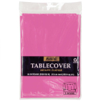 Bright Pink Round Plastic Tablecovers 2.13m - 12 PC