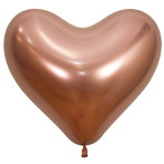 "Reflex Crystal Rose Gold Heart 968 Latex Balloons 14""/35cm - 50 PC"