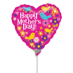 Happy Mother's Day Birds Mini Shape Foil Balloons A15 - 5 PC