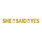 She Said Yes Glitter Letter Banner 1.3m x 10cm - 6 PC