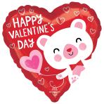 White Valentine Bear Standard Foil Balloons S40 - 5 PC
