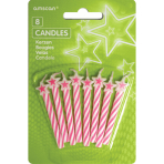 Pink Candles with Stars - 12 PKG/8