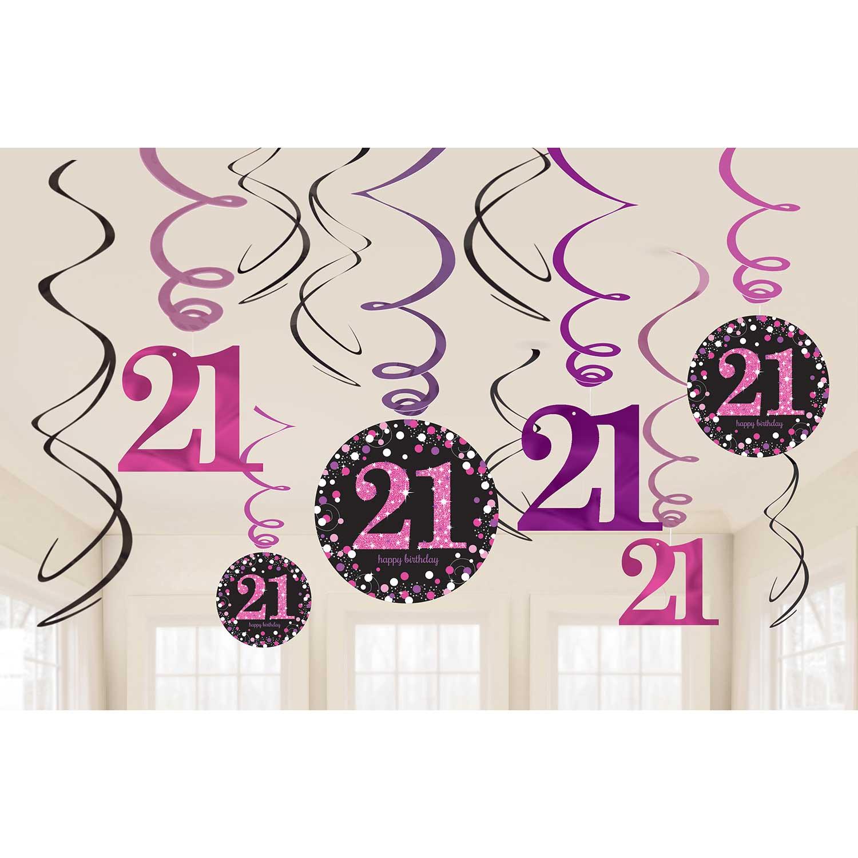 Pink Sparkling Celebration 21st Swirl Decorations