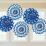 Bright Royal Blue Dots & Chevron Paper Fans 20cm - 12 PKG/5