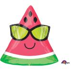 "Fun in the Sun Watermelon Junior Shape Foil Balloons 18""/45cm w x 17""/43cm h S40 - 5 PC"