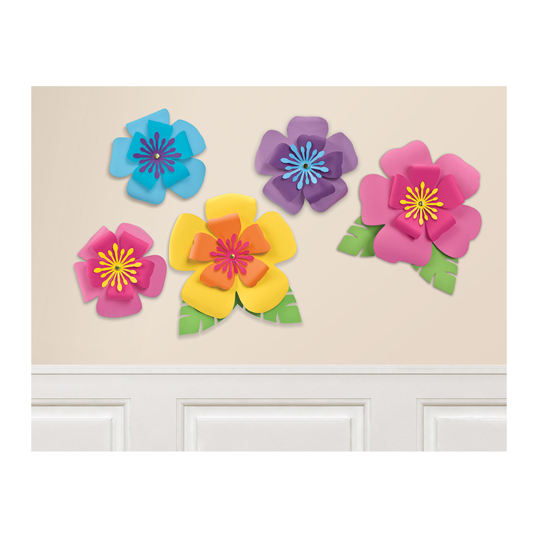 Hawaiian hibiscus paper flowers 6 pkg5 amscan international hover to zoom izmirmasajfo Gallery