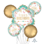 Boho Girl Satin Foil Balloon Bouquets P75 - 3 PC