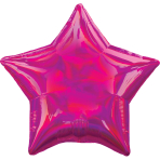 Magenta Iridescent Star Standard HX Packaged Foil Balloons S40 - 5 PC
