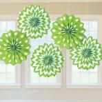 Kiwi Green Dots & Chevron Paper Fans 20cm - 12 PKG/5