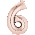 "Rose Gold Number 6 SuperShape Foil Balloons 22""/55cm w x 35""/88cm h P50 - 5 PC"