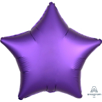Purple Royale Star Satin Luxe Standard HX Packaged Foil Balloons S15 - 5 PC