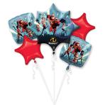 The Incredibles 2 Foil Bouquet Balloons P75 - 3 PKG/5