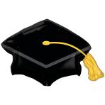 """Black Grad Cap SuperShape Foil Balloons 31""""/78cm w a 22""""/55cm h P30 - 5 PC"""