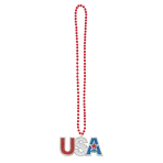 4th of July Patriotic Bead Bling Necklaces - 6 PC