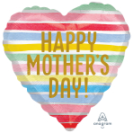 Happy Mother's Day Satin Stripes Standard XL Foil Balloons S40 - 5 PC