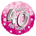 Pink Sparkle Party Happy Birthday 40th Standard Foil Balloons S40 - 5 PC