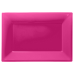 Bright Pink Plastic Serving Platters - 6 PKG/3