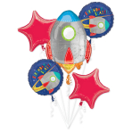 Blast Off Birthday Foil Balloon Bouquets P75 - 3 PKG/5