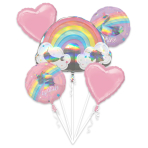 Magical Rainbow Holographic Foil Balloon Bouquets P75 - 3 PC