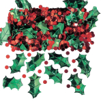 Holly with Berries Metallic Embossed Confetti Mix 14g - 12 PC