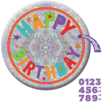 Happy Birthday Add an Age Holographic Badges 15cm - 6 PC