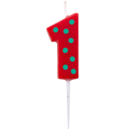 Dots & Stripes Birthday Candles Number 1 - 4.5cm - 12 PKG
