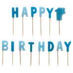 1st Birthday Boy Blue Pick Candles - 6 PKG/14