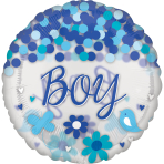 "Confetti Baby Boy Jumbo Foil Balloons 28""/71cm w x 28""/71cm h P45 - 5 PC"