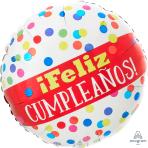 Feliz Cumpleaños Primary Dots Standard Foil Balloons S40 - 5 PC