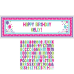 Pink & Teal Happy Birthday Giant Customisable Banner Kits 1.65m x 50cm - 12 PC