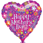 Happy Mother's Day Swirls Standard HX Foil Balloons S40 - 5 PC