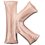 Letter K Rose Gold SuperShape Foil Balloons 26/66cm w x 33/83cm h P50 - 5 PC